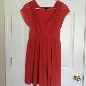 BANANA REPUBLIC Coral Pleated V-neck Sundress
